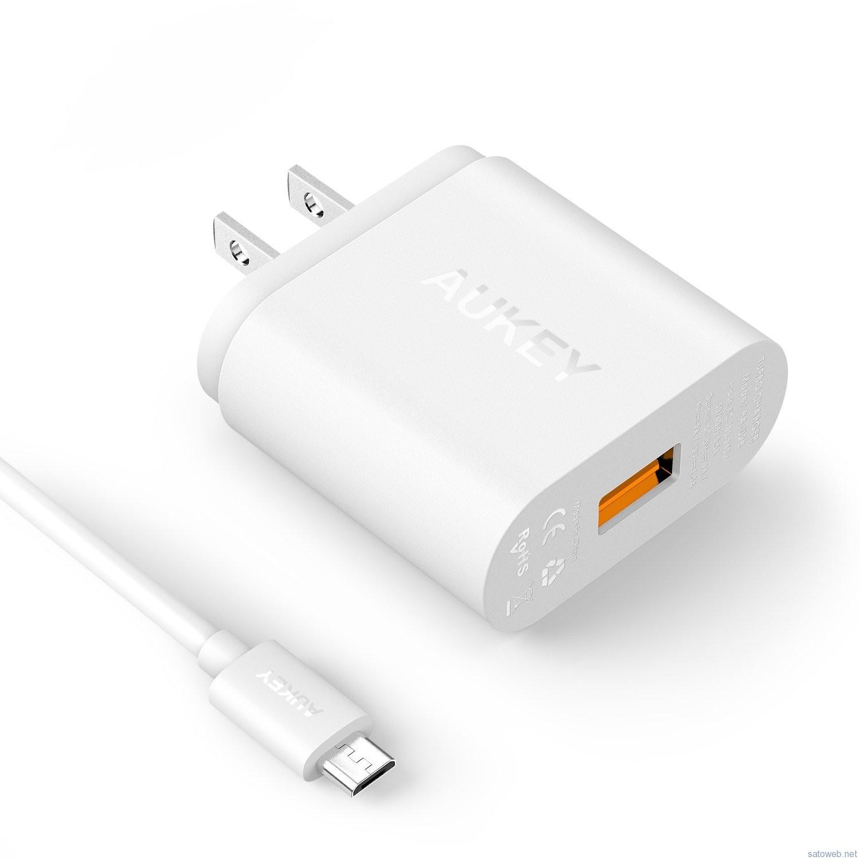Aukey Quick Charge 2.0急速充電対応充電器がタイムセール特価、 1100円也!