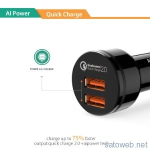 Aukey Power-All 4.8A/36W Quick Charge 2.0 カーチャージャー  がタイムセール対象!