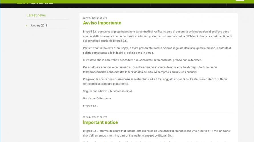 イタリアの取引所「BitGrail」で「Nano」17,000,000XRB が不正取引(被害時220億円相当)