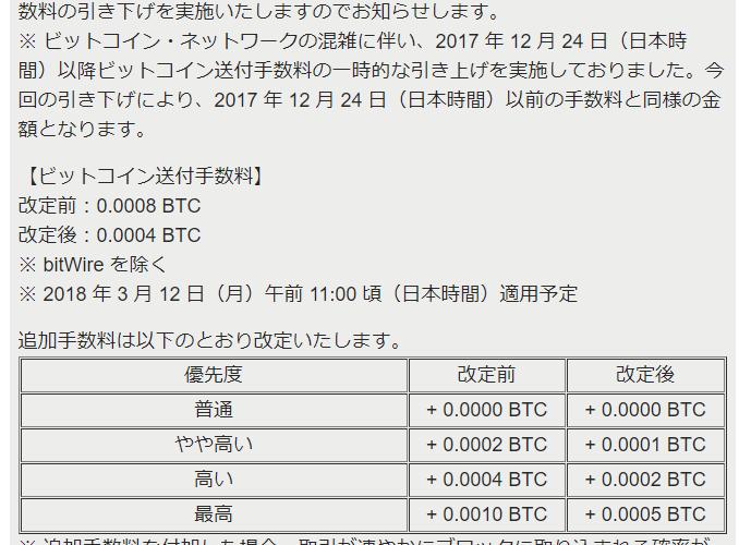 Bitflyer、BTC送金手数料の値下げとアルトコインの送金に手数料設定へ。