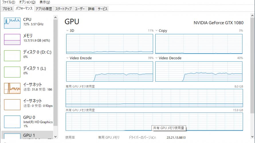 今更ながらGPUエンコード環境を構築する。